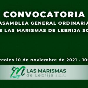 CONVOCATORIA ASAMBLEA GENERAL 10 NOVIEMBRE 2021 - LAS MARISMAS DE LEBRIJA SCA